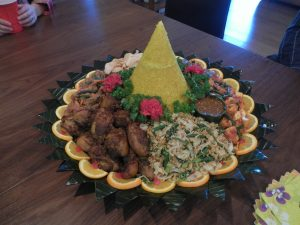Traditional Indonesian rice table